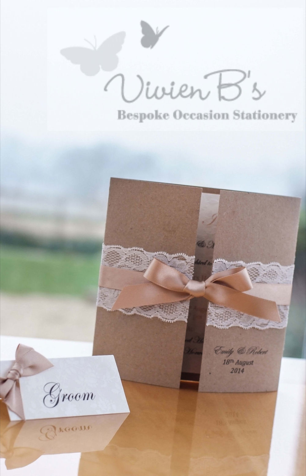 A stunning example of how VivienB's can create wedding stationery that will leave a lasting impression upon your guests