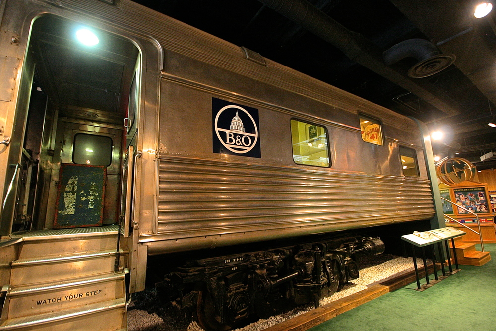 Train inside museum