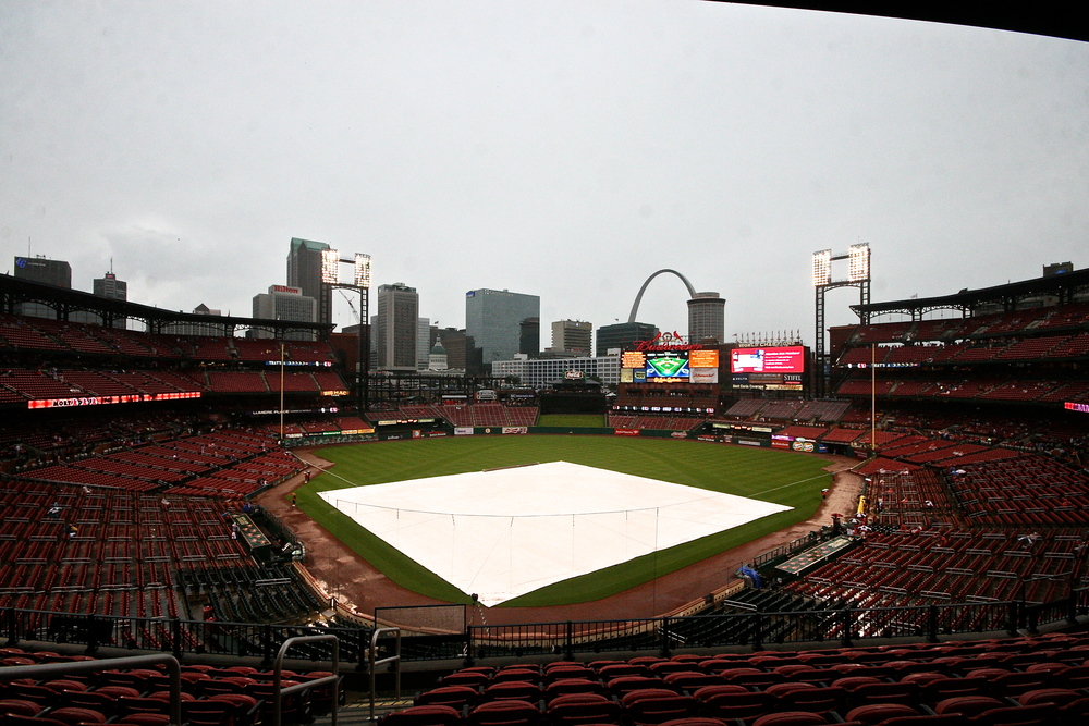 Rainy day at Busch Stadium