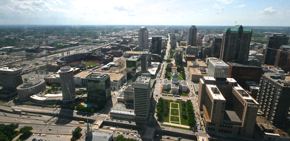 The city of St. Louis from the Arch