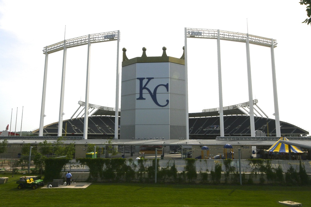 View from behind Kauffman Stadium