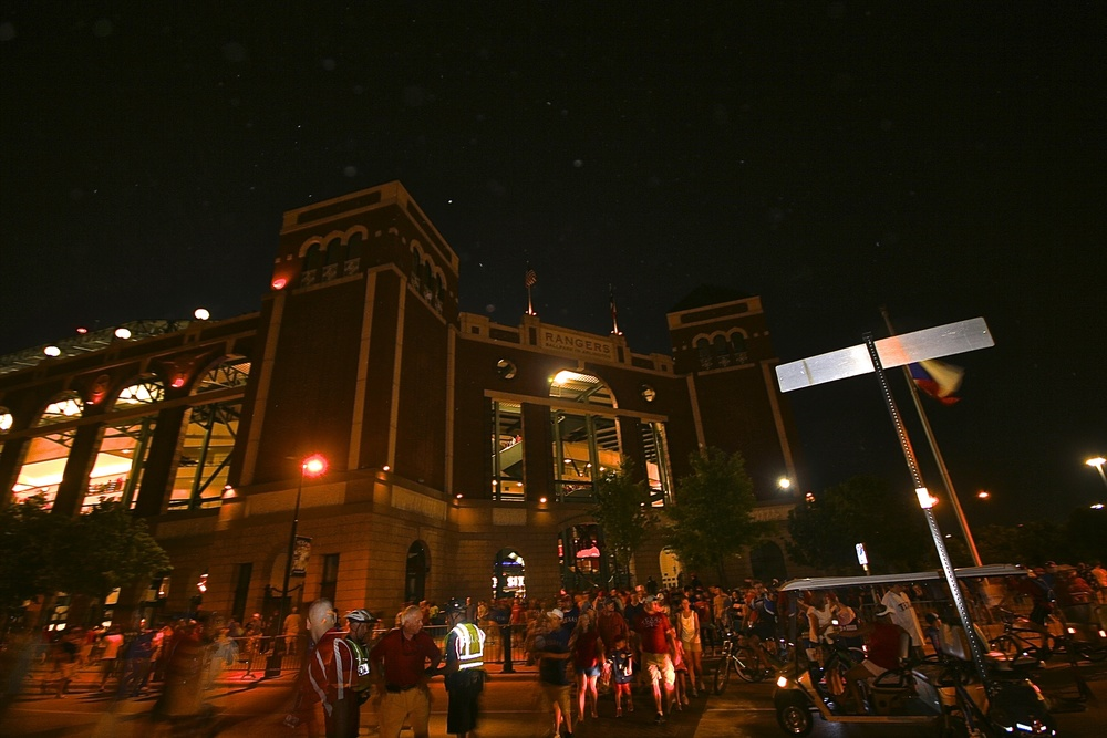 Rangers Ballpark at night