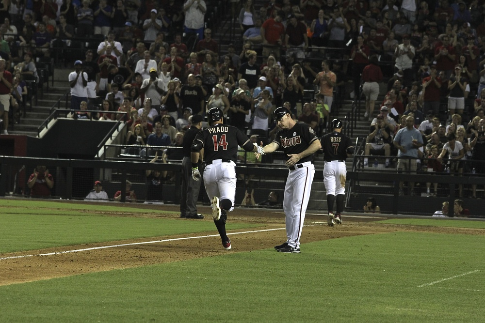 Martin Prado rounds third after home run