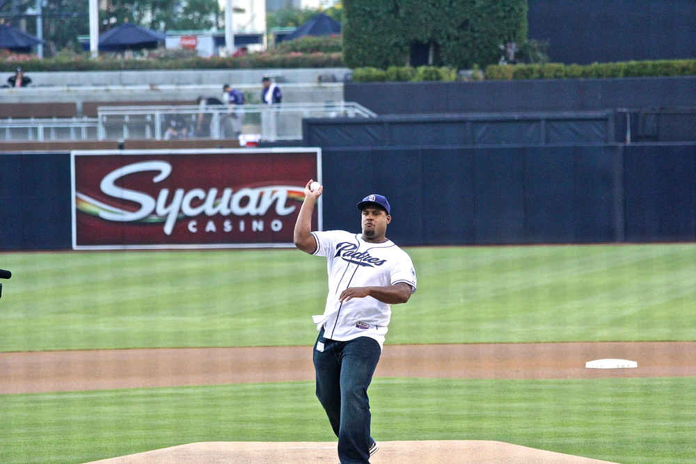 Mike Harris first pitch