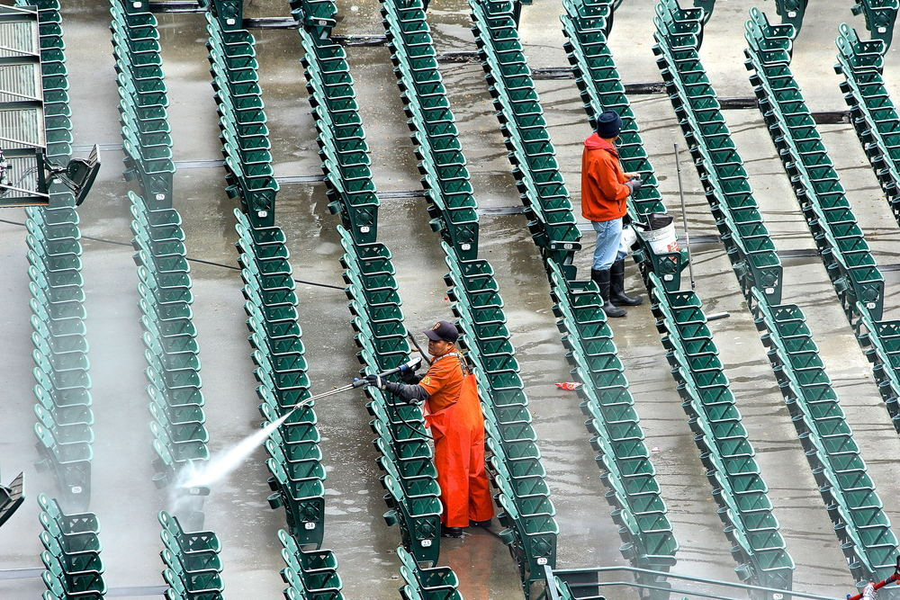 Power washing the stadium