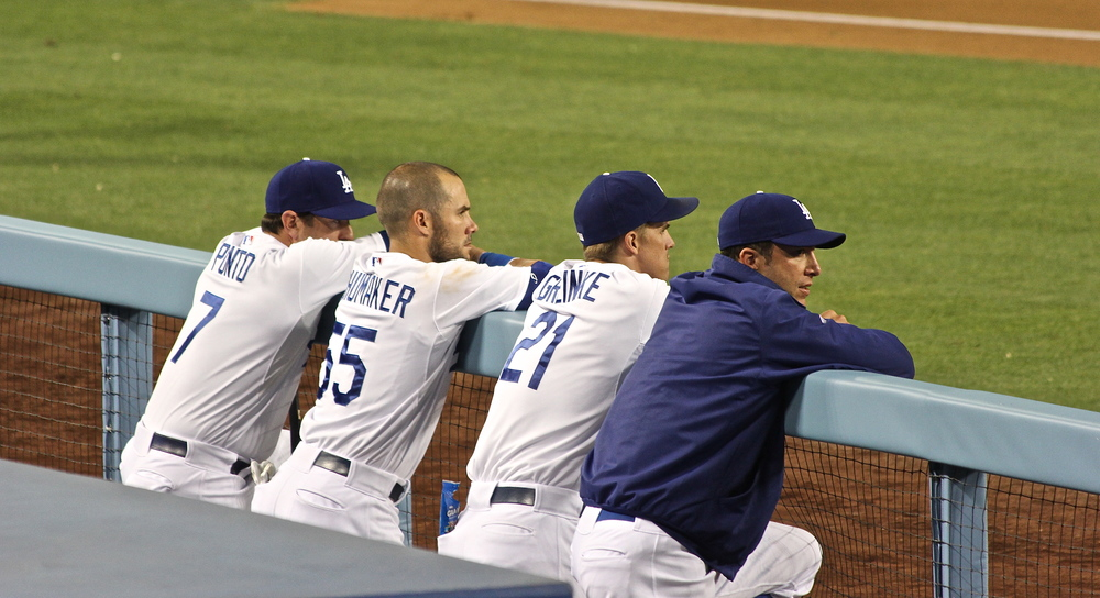 Dodger dugout hangin' out