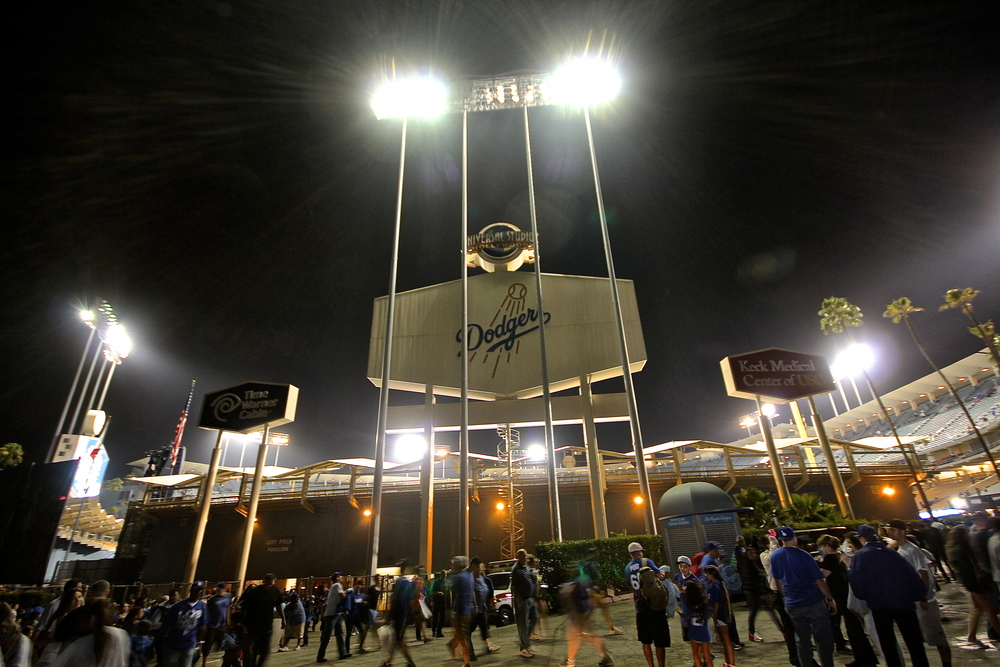 Dodger Stadium at night