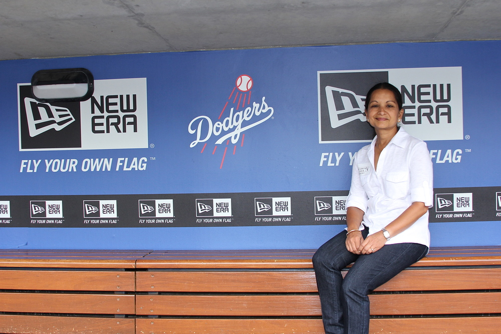 My mom in the dugout