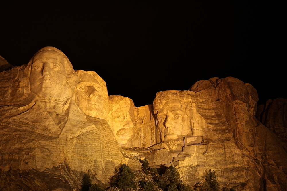 Mount Rushmore lit up