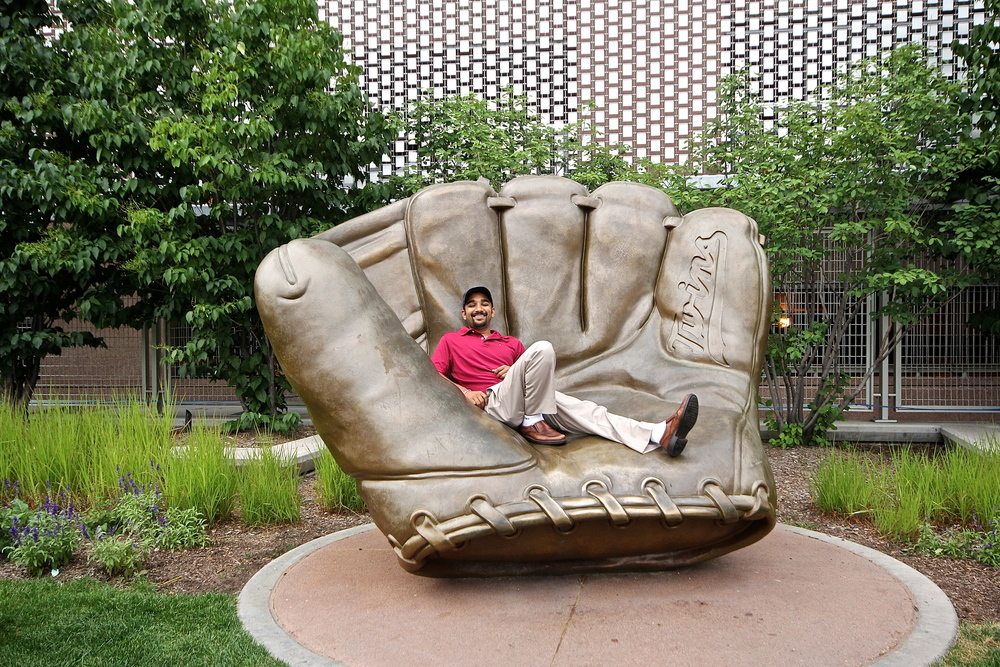 Relaxing in a giant golden glove