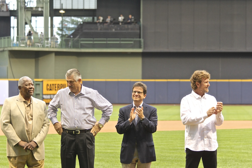 Hank Aaron, Rollie Fingers, Matt Attanasio, Robin Yount