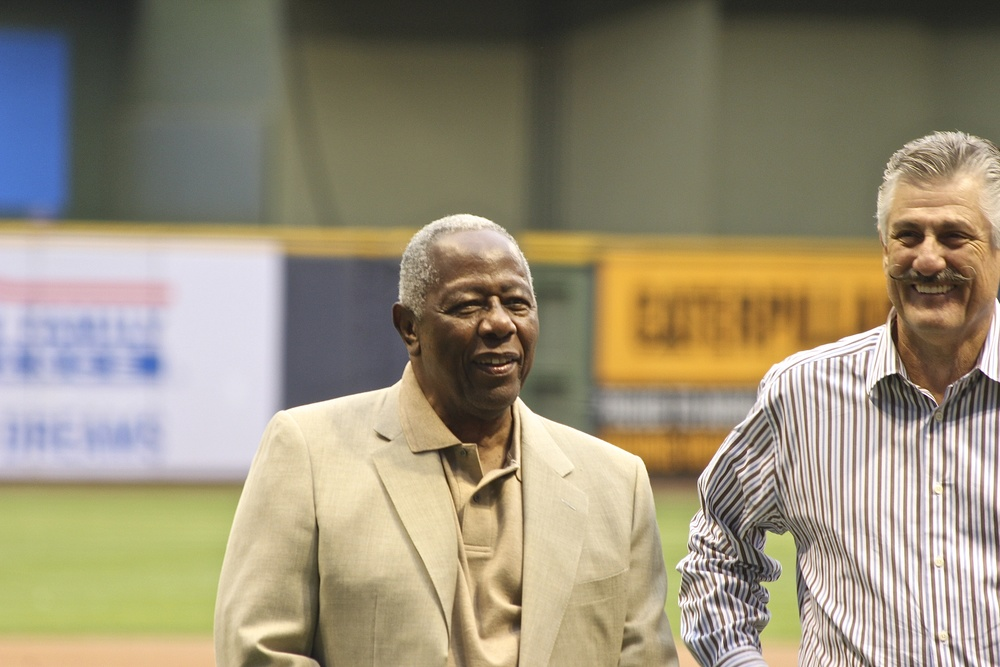 Hank Aaron and Rollie Fingers