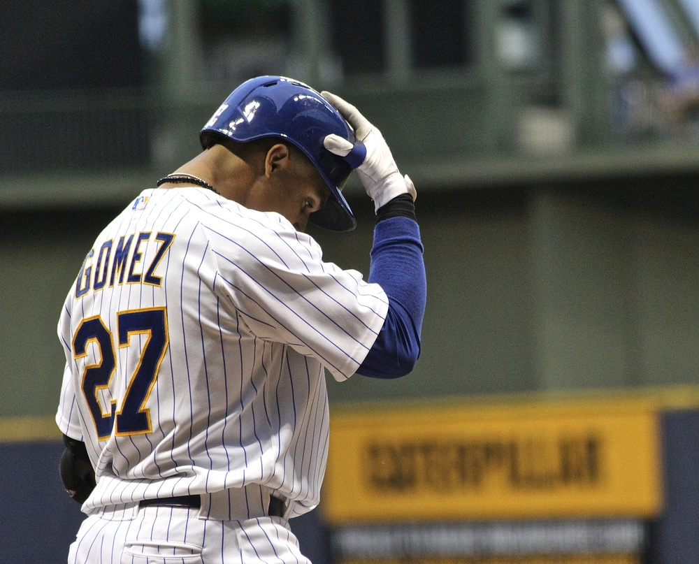Carlos Gomez steps up to the plate