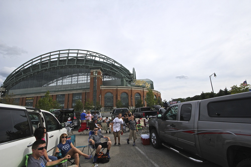 Tailgaters outside of Miller Park
