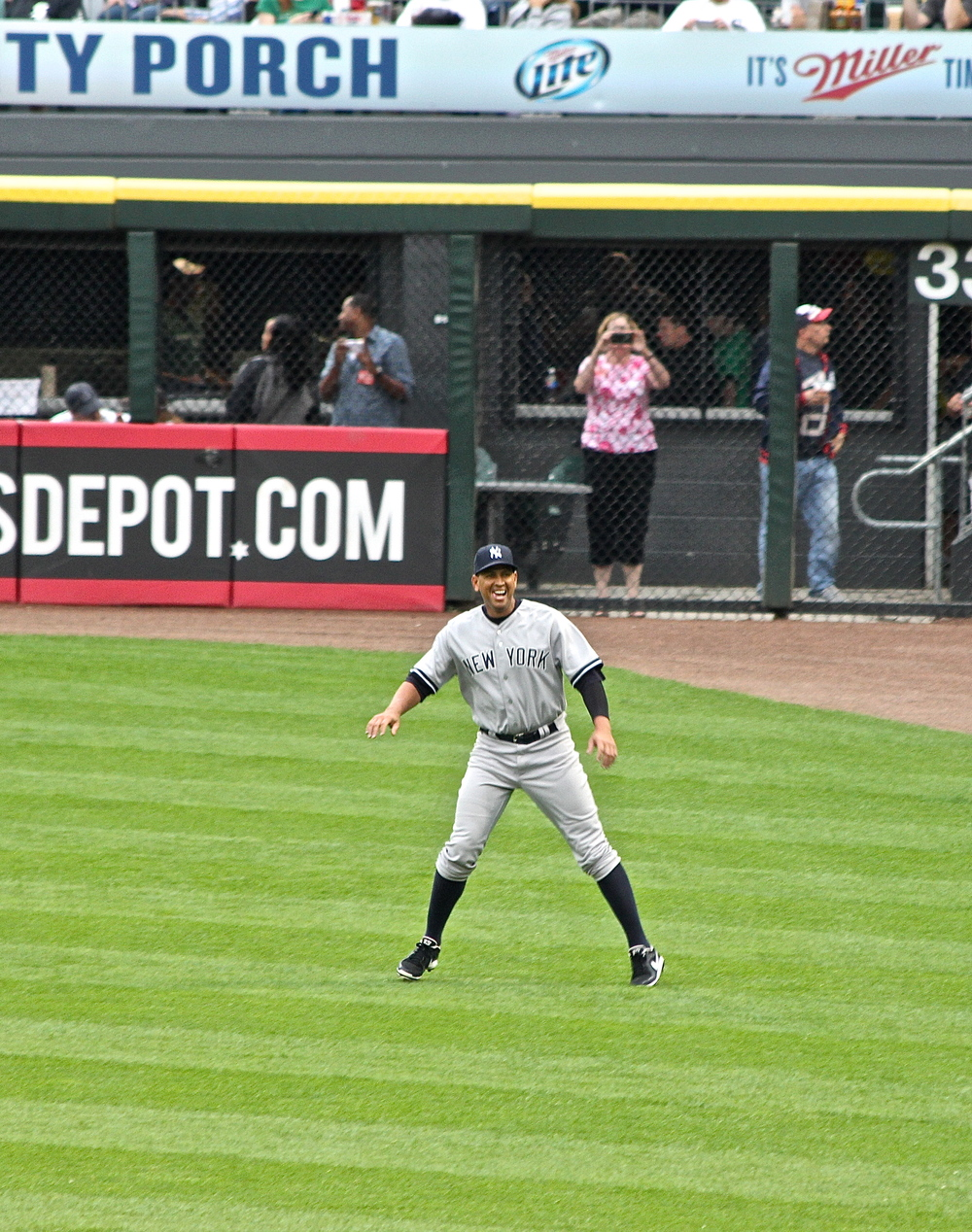 Happy Alex Rodriguez warming up