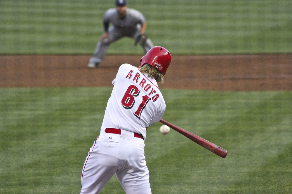 Bronson Arroyo with the bat