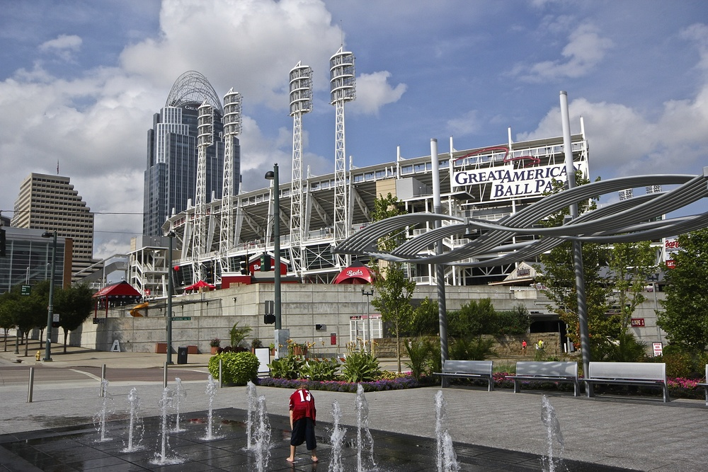 Fountains outside of Great American Ballpark