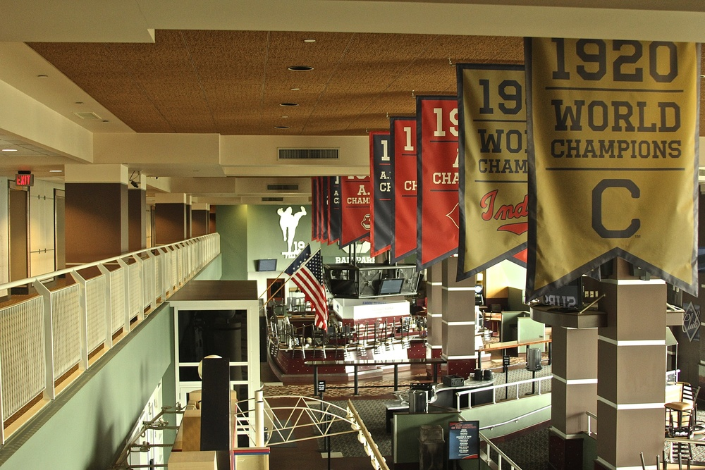 Banners hanging inside Progressive Field