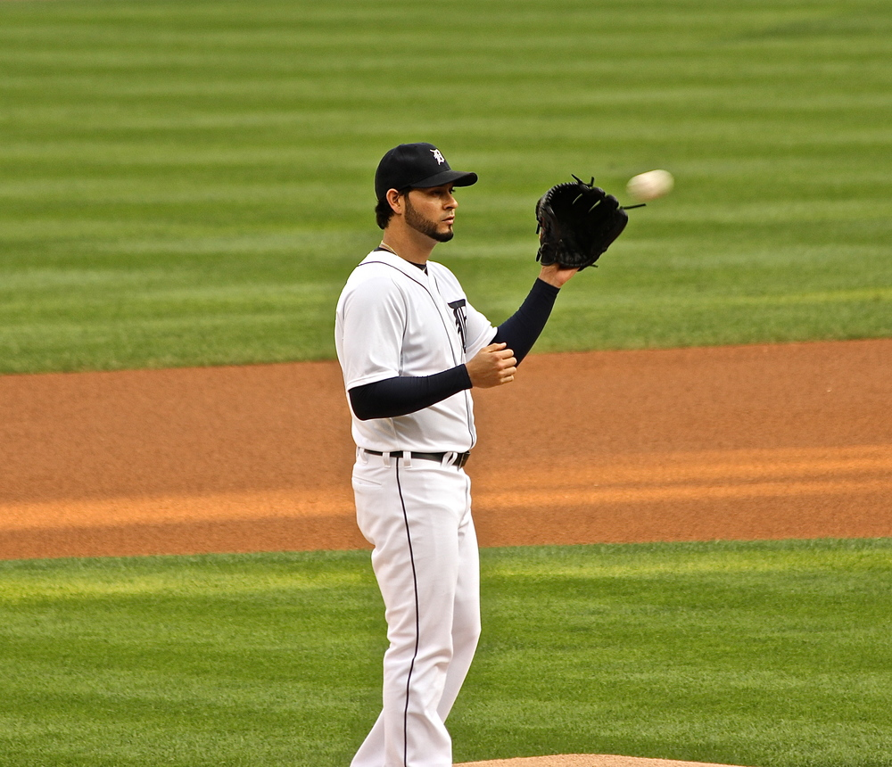 Anibal Sanchez receives the game ball