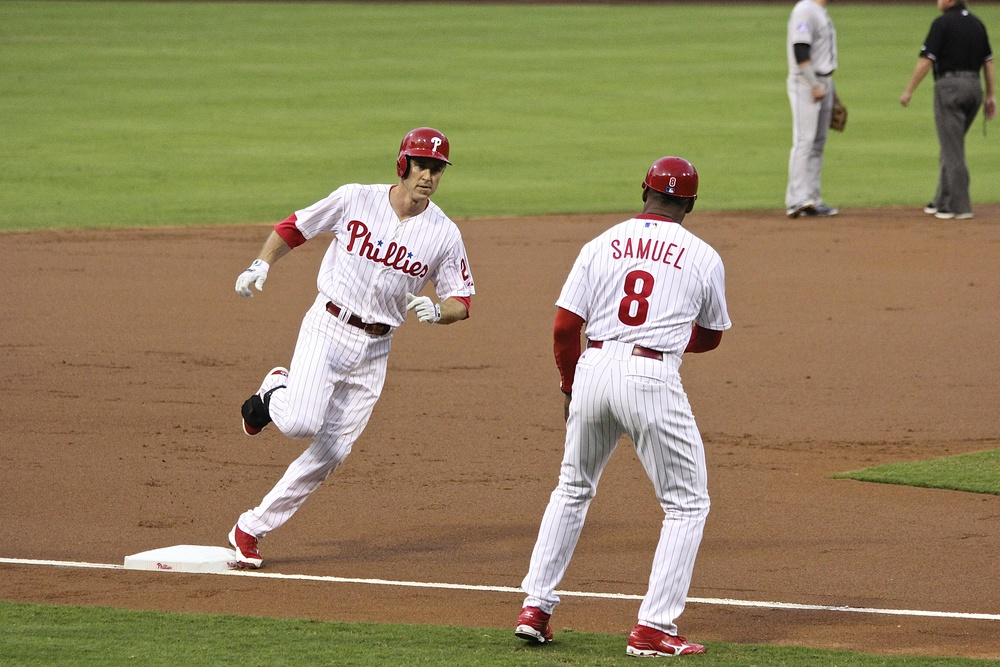 Chase Utley rounds third after home run