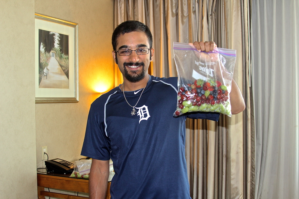 Me and my bag o' fruit