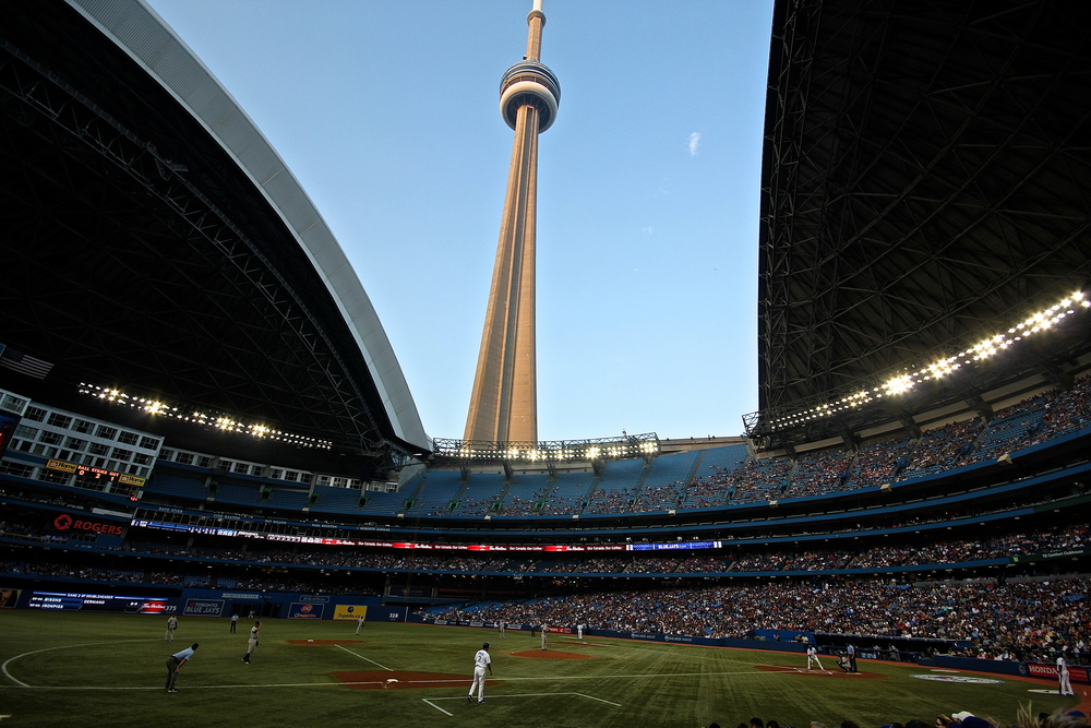 CN Tower from inside the Rogers Centre
