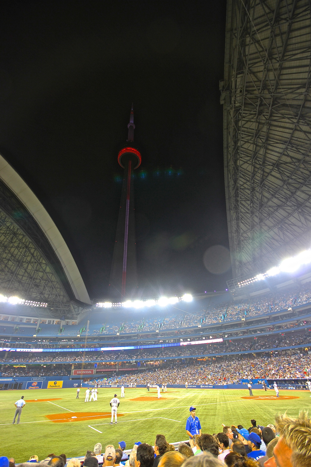 CN Tower lit up from inside the Rogers Centre