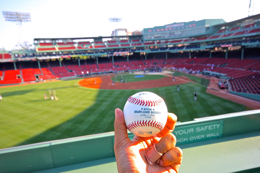 Batting Practice ball on the Green Monster