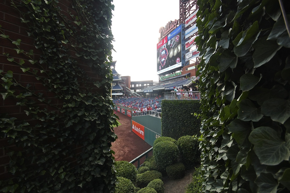A peek behind the center field wall