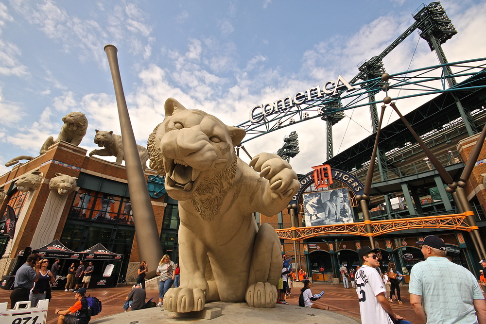 Tiger protecting Comerica Park