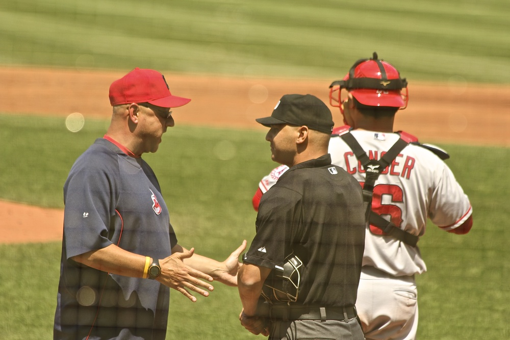 Terry Francona having a discussion