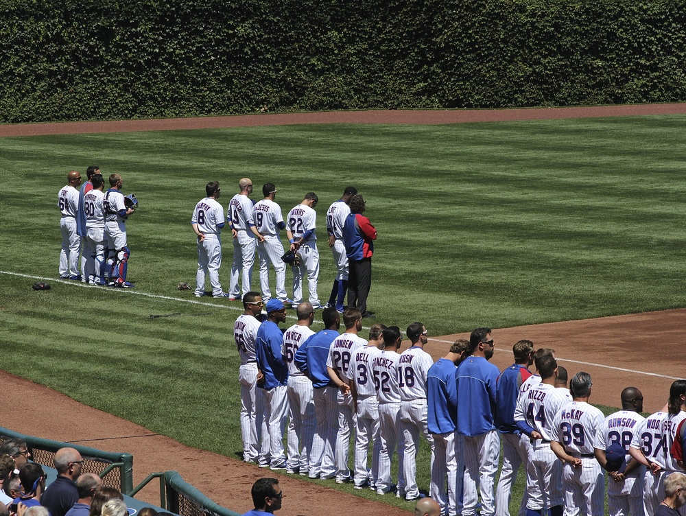 Cubs stand for the National Anthem