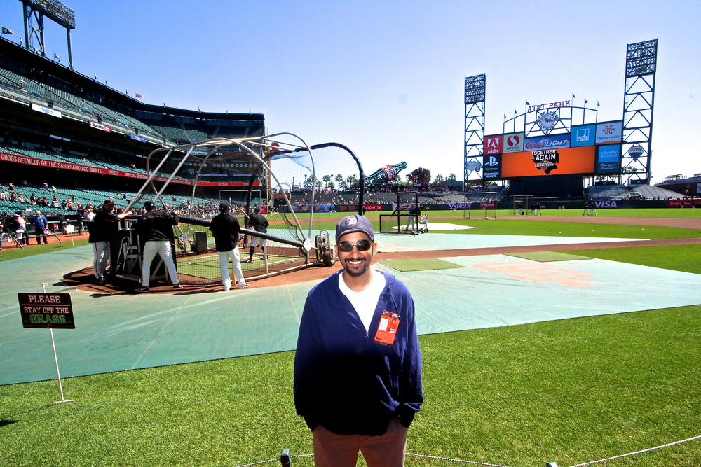 Me on the field for batting practice
