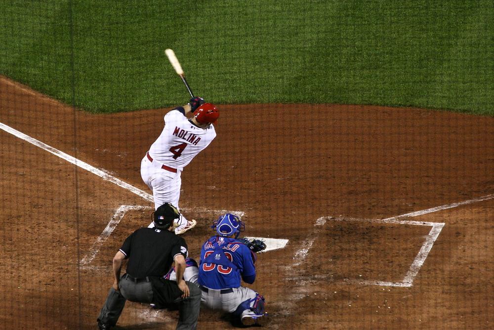 Yadier Molina strokes a double