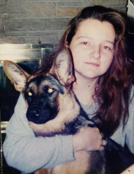 My sister with our German Shepherd Flack