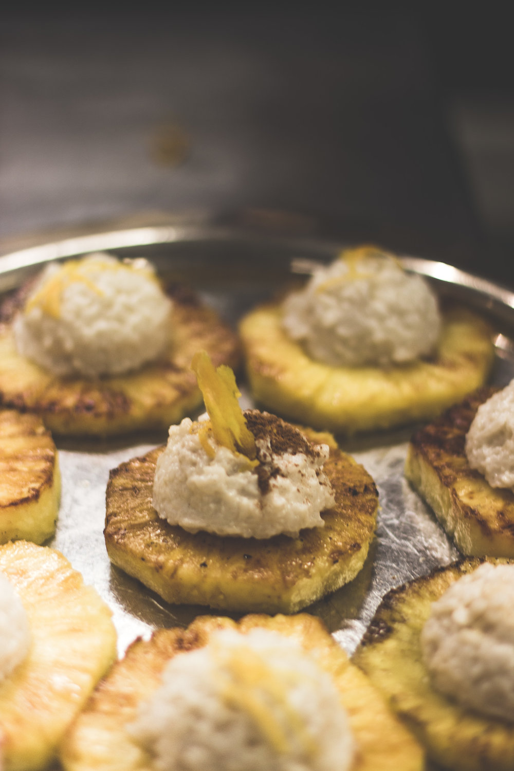 Coconut Parmigiano Reggiano Rice Pudding with Grilled Pineapple - Our dessert came out beautifully!