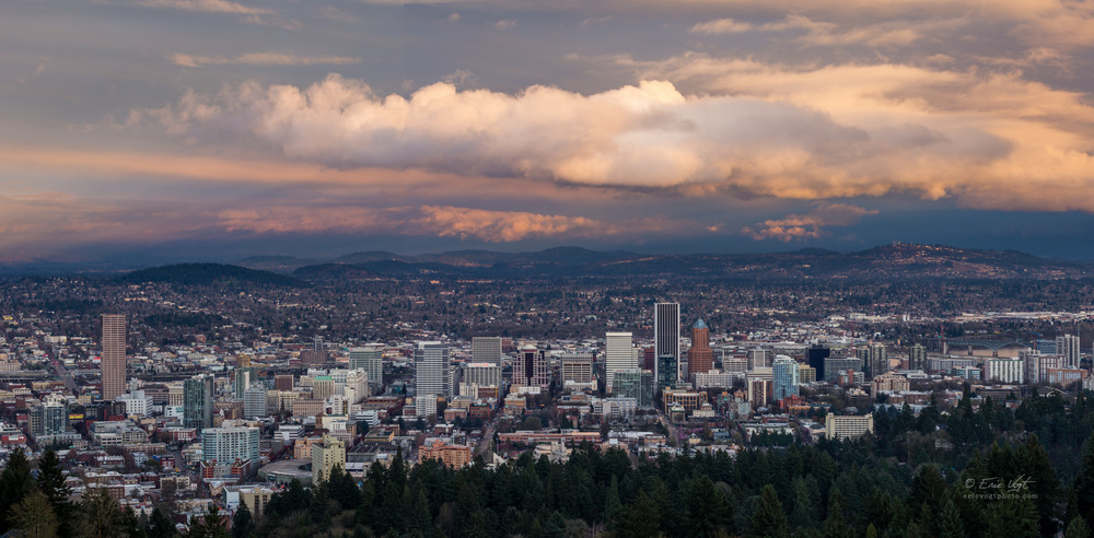 Stormy Sunset Over Portland