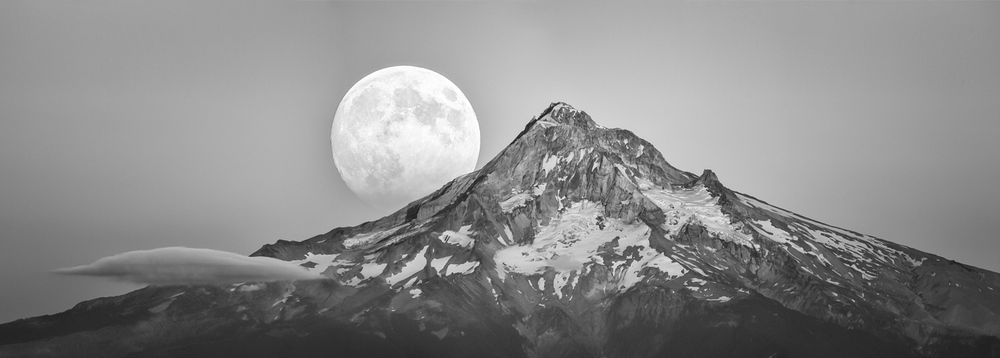 Moon Emerging Behind Mt Hood