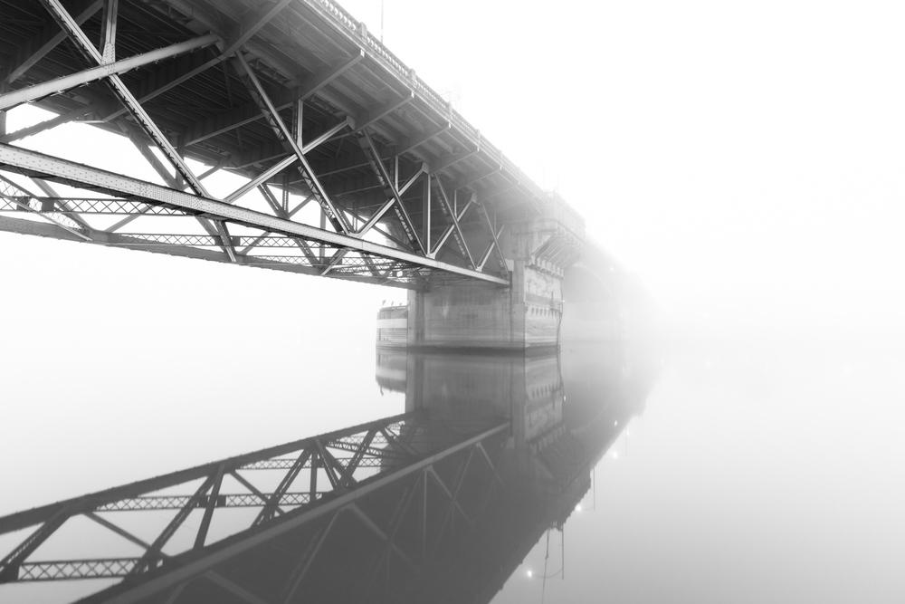 Burnside Bridge Disappearing Into Fog Black and White