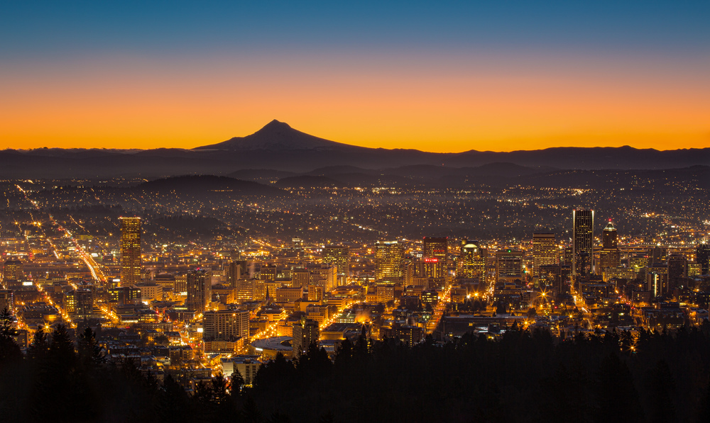 Portland Dawn, Pittock Mansion View