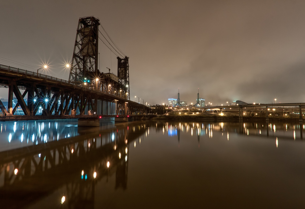 Foggy Steel Bridge Dawn