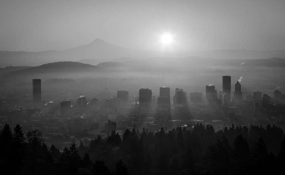 PDX Fogy Sunrise B&W