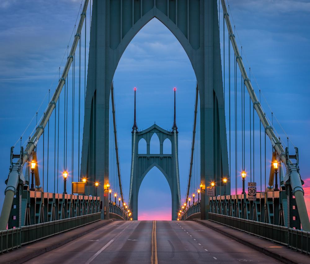 St John's Bridge into the Sunrise