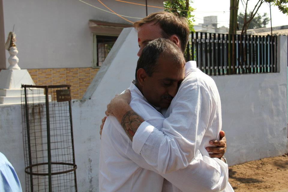 Jayeshbhai Patel and I at the leprosy community. December, 2011.
