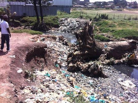 Garbage piles up in the Kitui Ndogo slum.