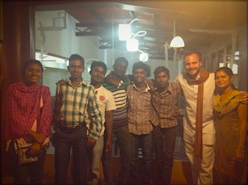 With the core team at the Seva Cafe.