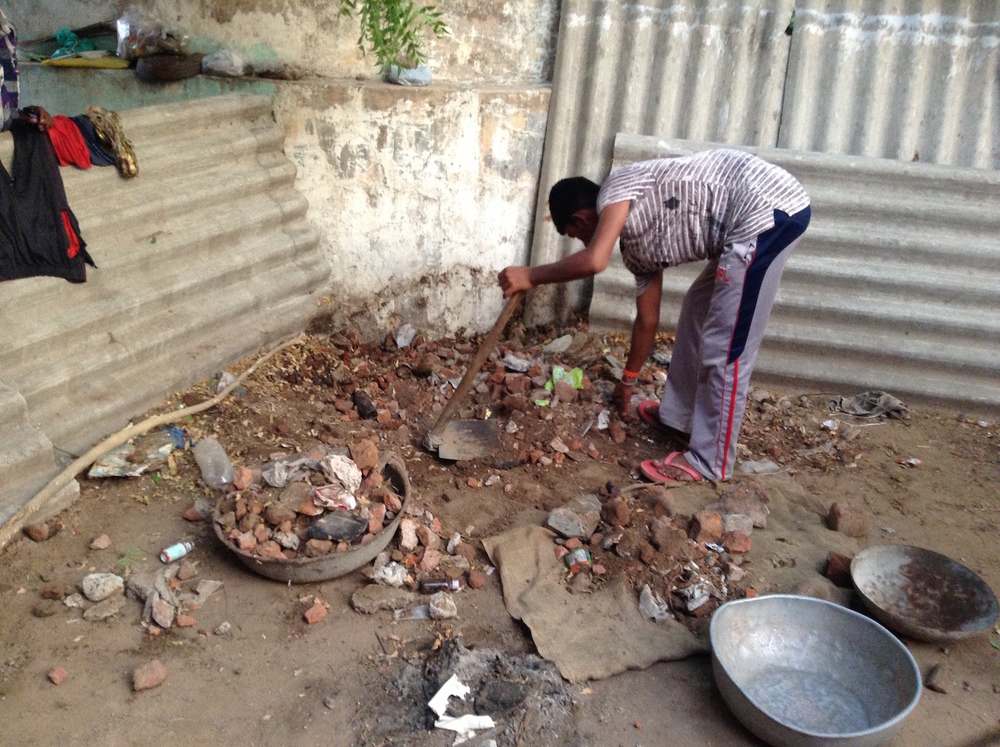 Debris being removed.