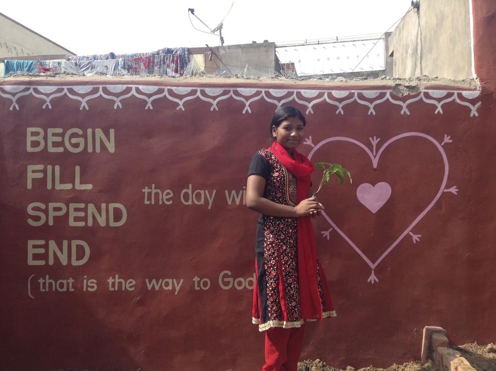 Donating a mango tree to the garden.