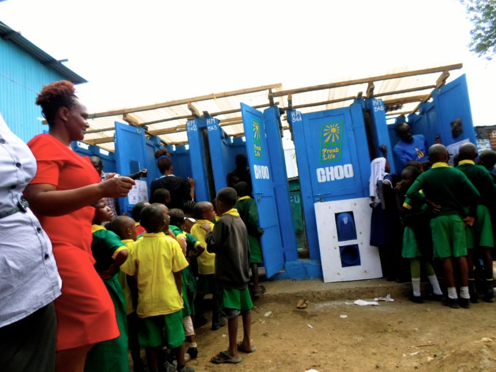 Eco-friendly toilets were installed to serve the center and community.