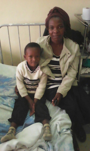 Lodrick and his mom at Kenyatta National Hospital. August, 2016.